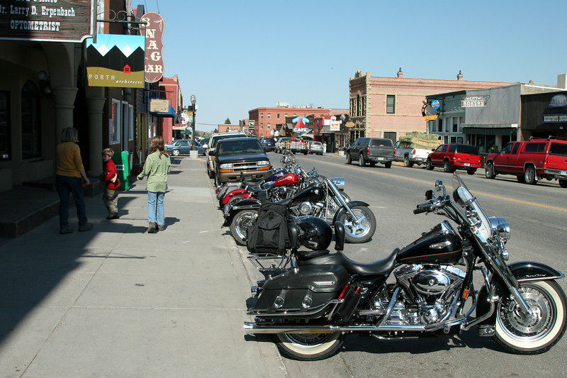 Lots of Harleys at the other end of the road in Red Lodge, Montana