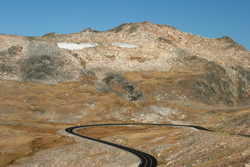Roads wind through the highest part of the Beartooth Highway