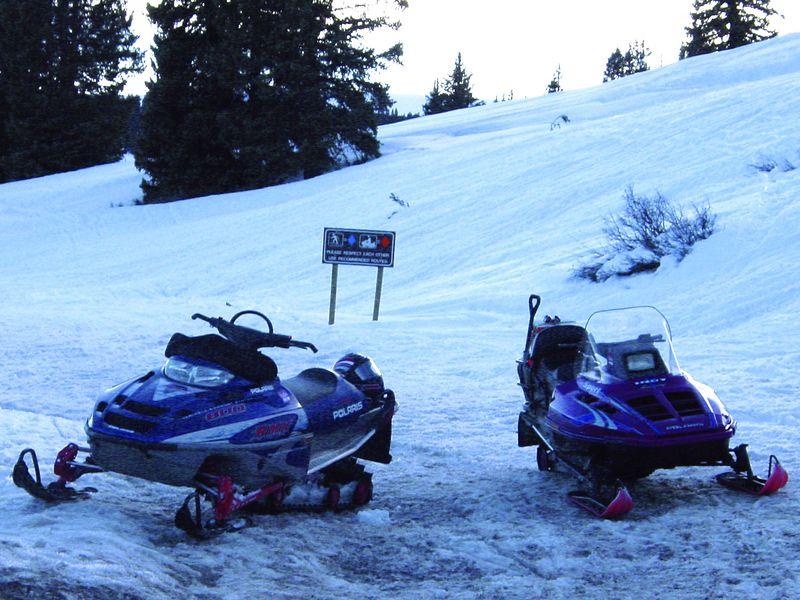 Snowmobiles outside Dillon, CO, March, 2004.