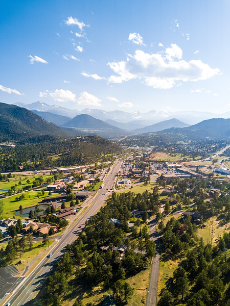 Aerial photo of Estes Park, nestled alongside Rocky Mountain National Park.