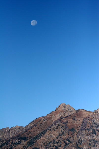 Moon Over the Tetons in the Morning - Grand Teton National Park, Wyoming