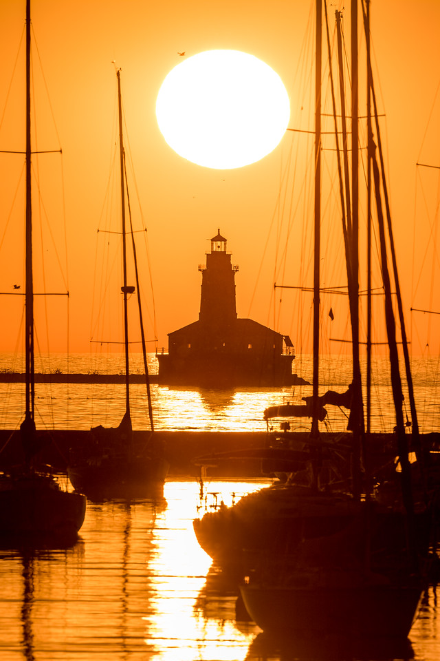 Chicago Harbor Lighthouse at Sunrise