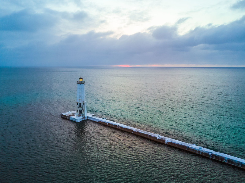 Sunset at the Frankfort North Breakwater Light (Black and White) - March 14th, 2017