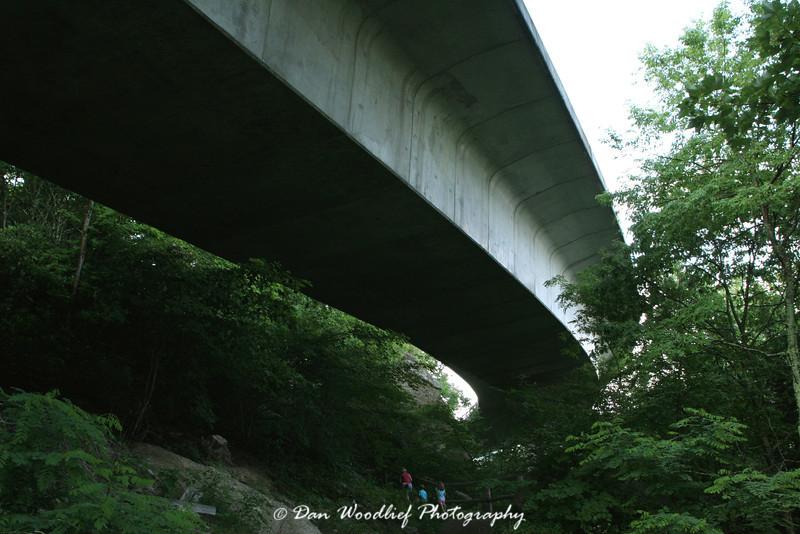 Hiking beneath the Linn Cove Viaduct - Blue Ridge Parkway