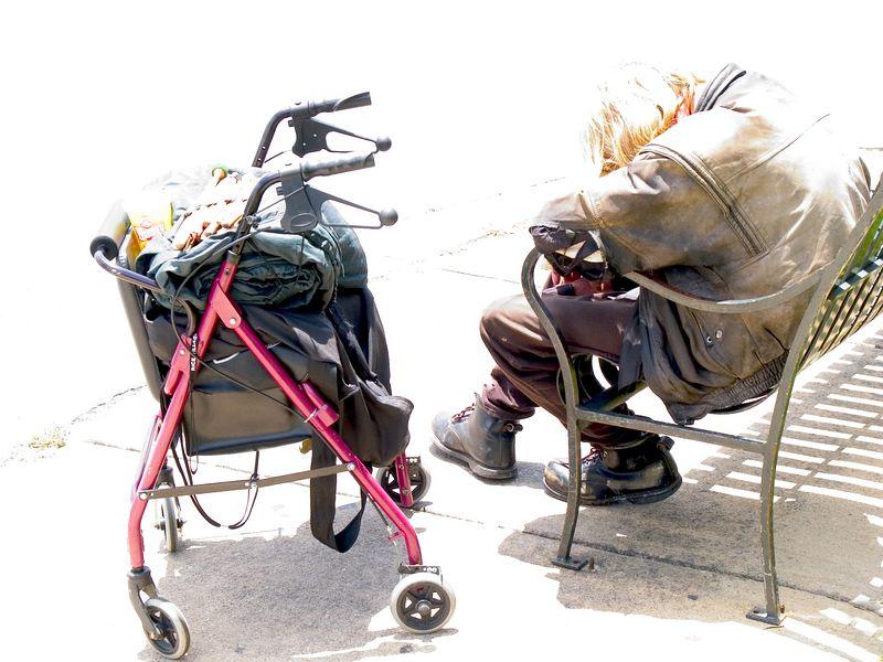 Homeless on street outside Schlotsky's on South Lamar Boulevard, Austin, TX (2004).