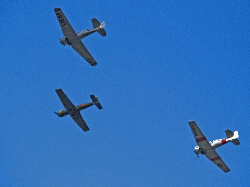 WWII vintage aircraft flying over Northwest Austin on September 11, 2004.