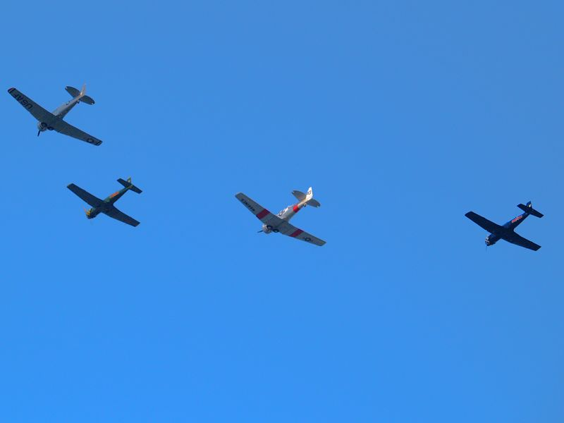 WWII vintage aircraft flying over Northwest Austin on September 11, 2004.
