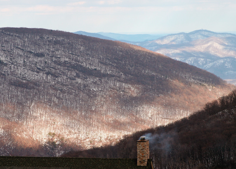 Snow-covered mountains near Wintergreen Ski resort