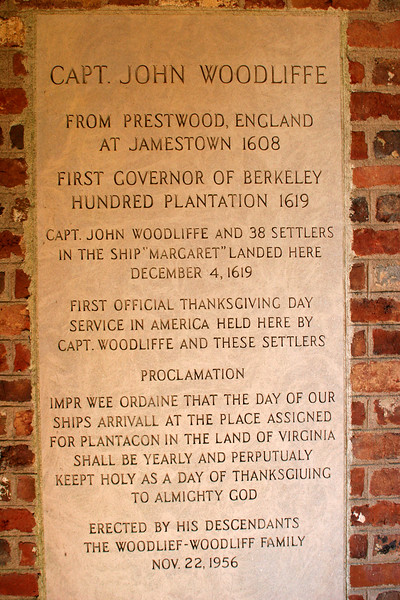 Marker honoring the real first Thansgiving celebration in America (led by one of the photographer's ancestors) - Berkeley Planation
