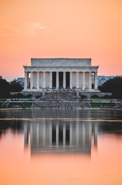 Lincoln Memorial in reflection at sunset.