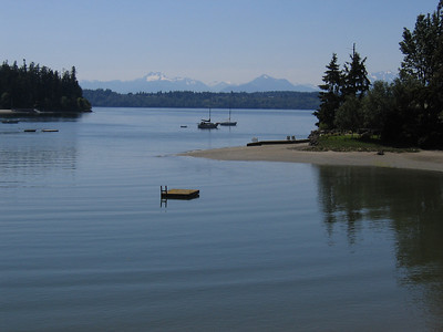 The Olympic Mountains to the west.