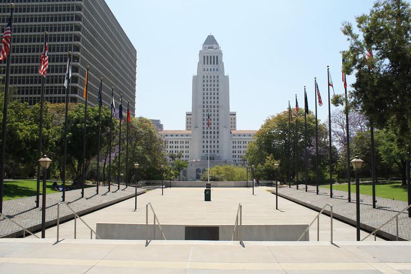 City Hall and flag plaza