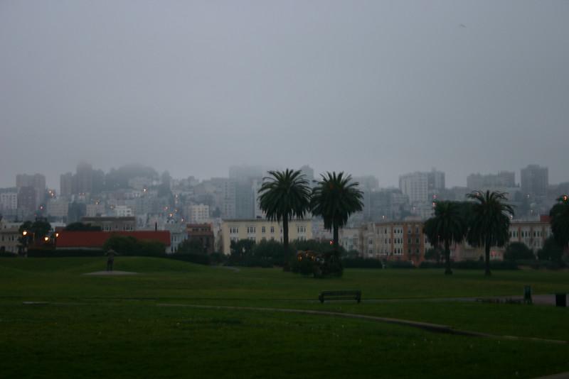 Morning fog over the city