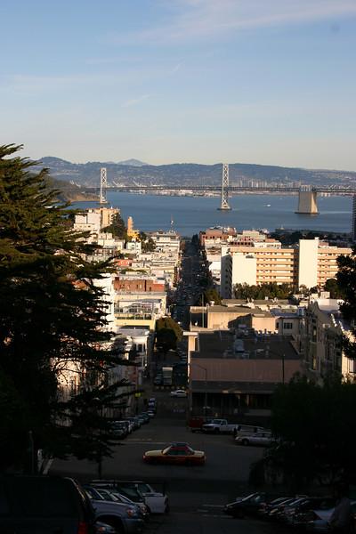 Again the Bay bridge (note the steep downhill street)