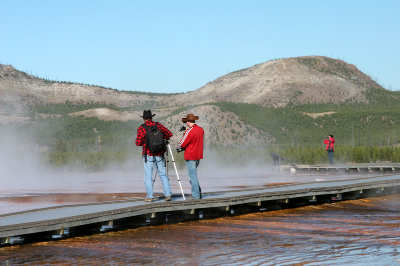 Cowboy photographers in Midway Geyser Basin