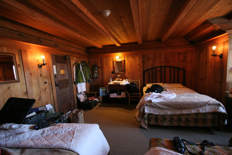 Our room at the Old Faithful Inn - old part of the building