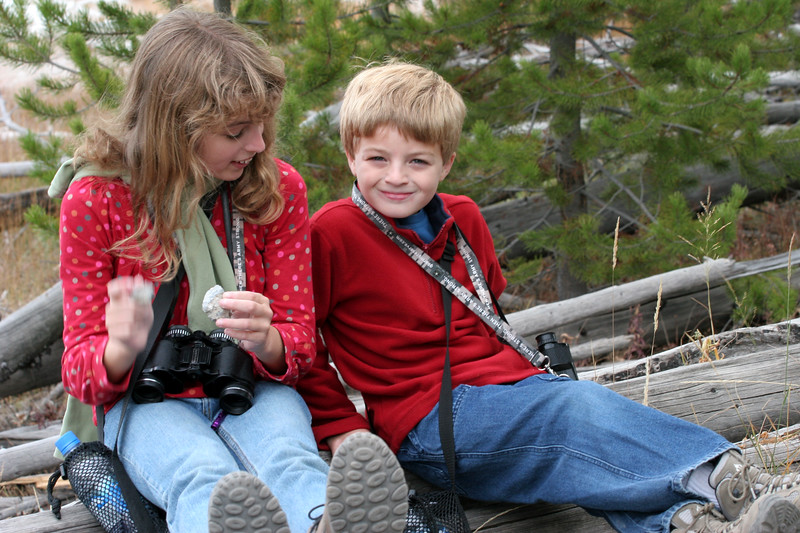 Dylan and Claire rest on the trail above Grand Prismatic Spring