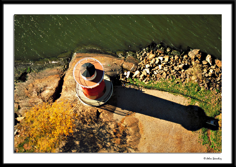 Little Red Light House from Above.<br /> Yes, the Hudson was green that day.
