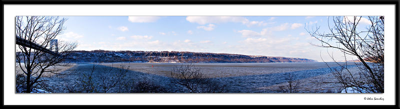 Panorama of ther Jersey Palisades in Winter.