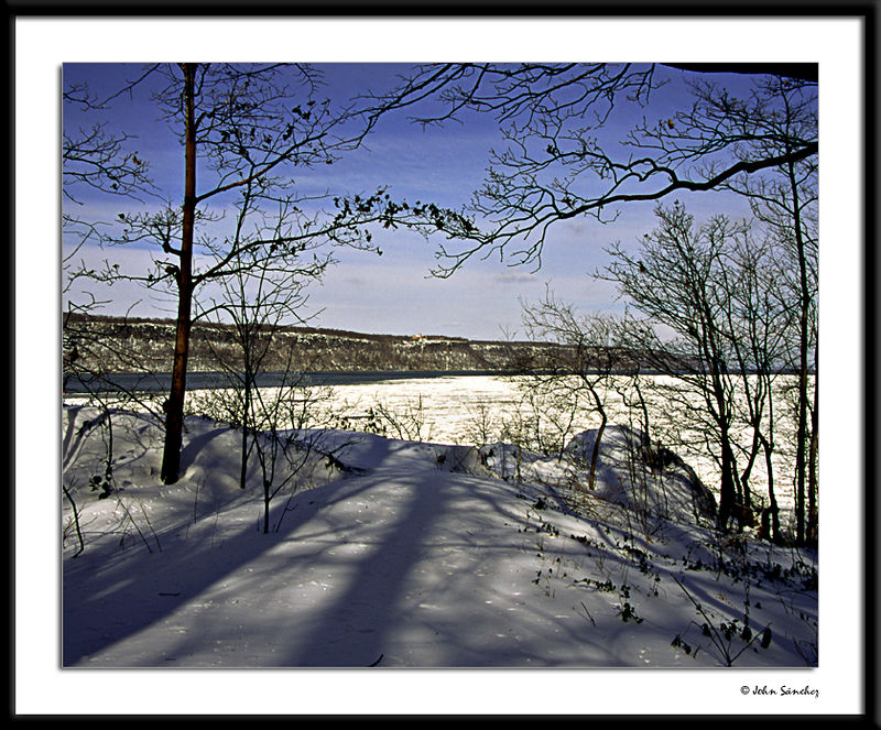 Pathway to the River and Palisades in Winter