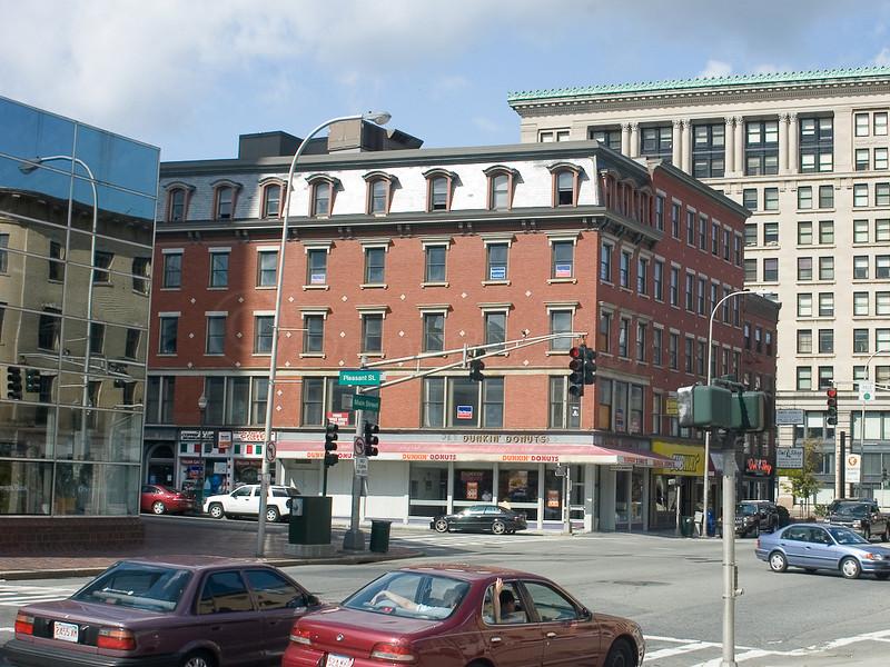 Harrington Corner from infront of City Hall Easton's Pharmacy Today