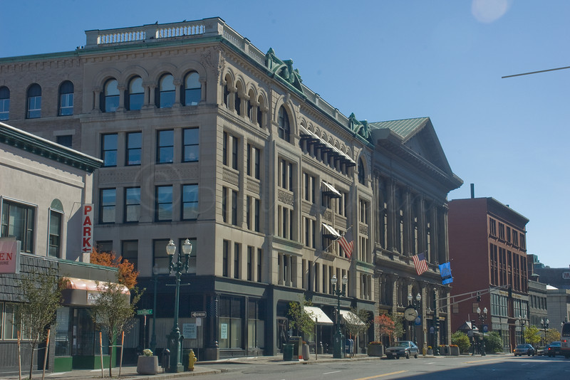 The Central Exchange Building, Mechanic's Hall and the old Burnside Bldg.