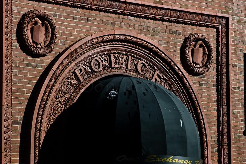 Old Police Building entry brickwork.