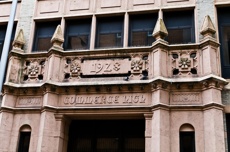Detail entry of old Commerce High on Walnut Street.