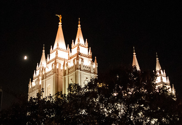 Latter Day Saints Temple at night in SLC