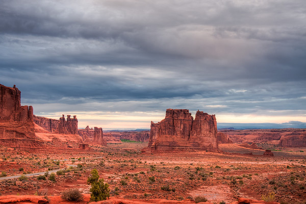 Arches National Park, the Three Gossips on the left and Tower of Babel on the right