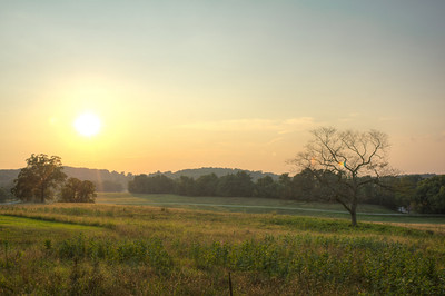 valley forge landscape at sunset