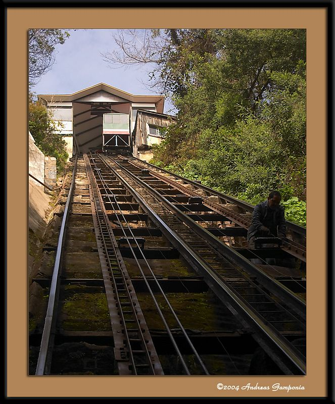 The cable car's steep ascent to the upper streets of Valparaiso