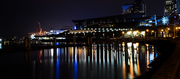 Vancouver Harbor Waterfront Night Reflection