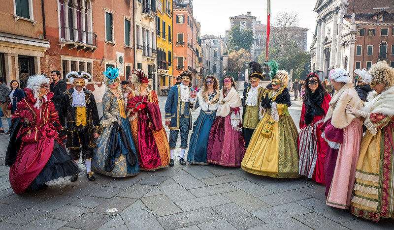 Costumed people at Carnival in Venice, Italy