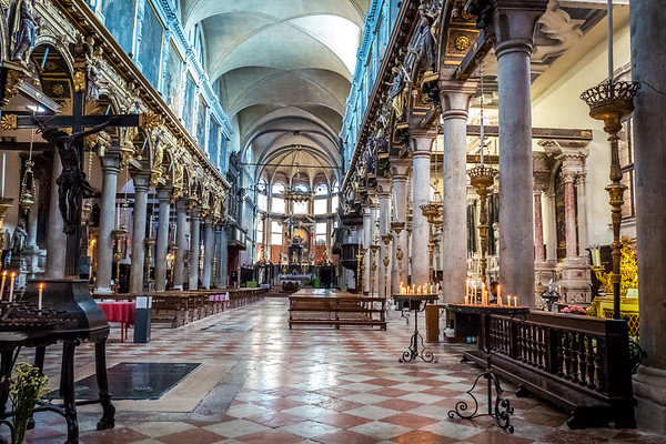 Inside a church in Venice