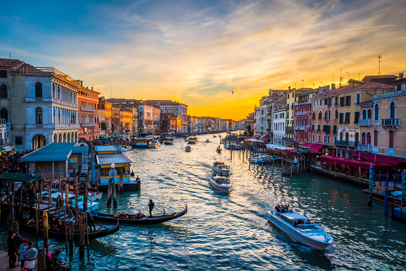 View from Rialto bridge at dusk, Venice