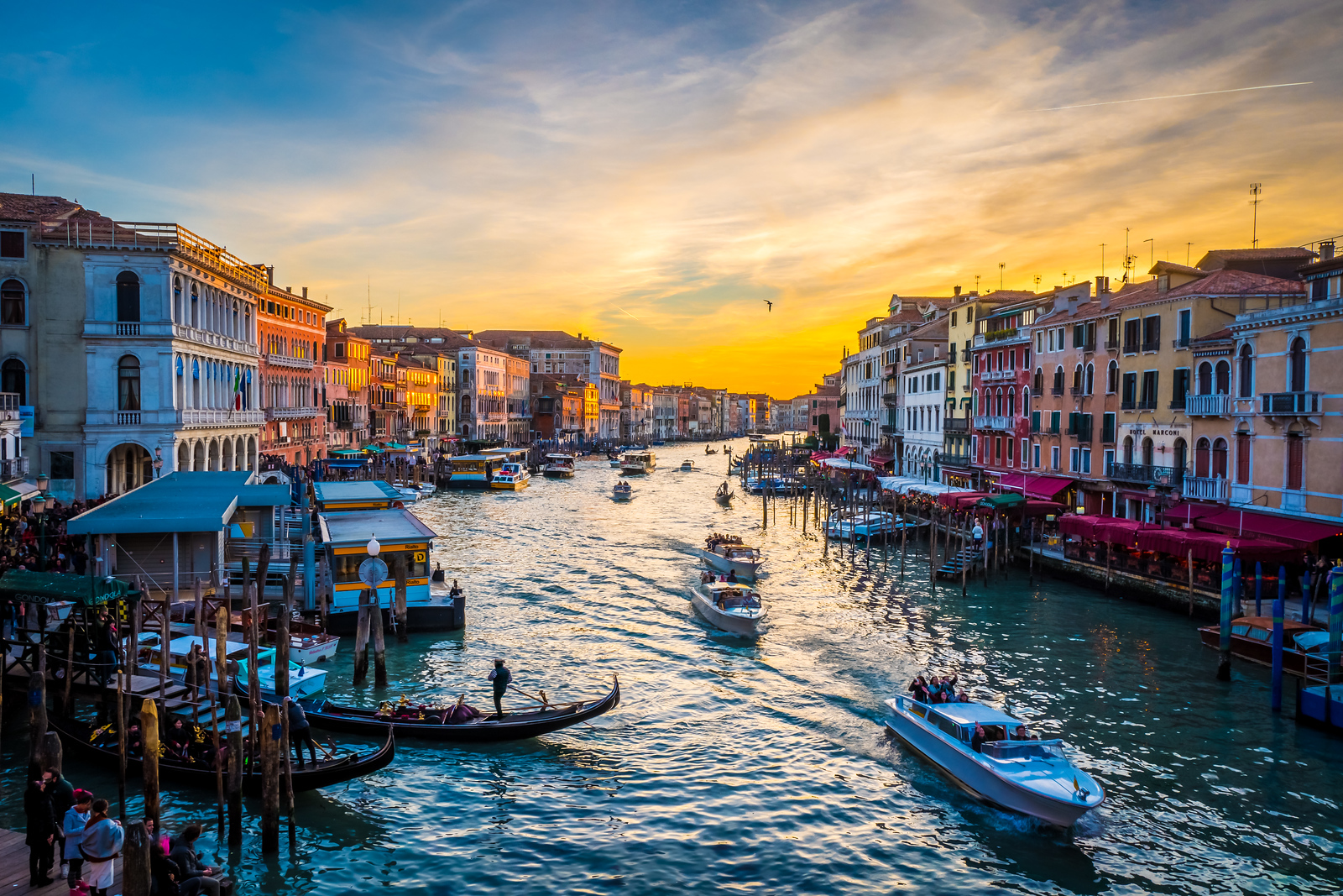 View from Rialto bridge at dusk, Venice