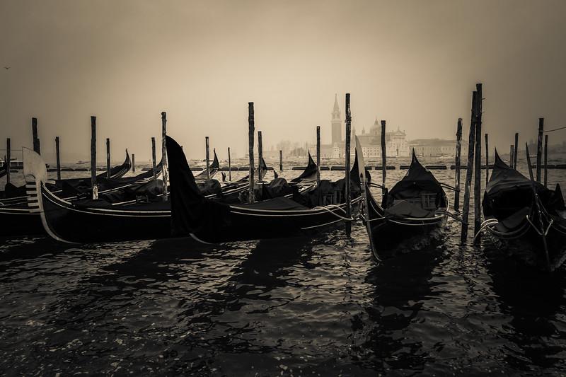 Gondolas in a fog, Venice