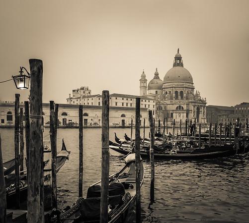 Basilica di Santa Maria in a fog, Venice, Italy
