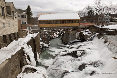 The new covered bridge as seen from Simon Pearce in Quechee, Vermont. - March 2013