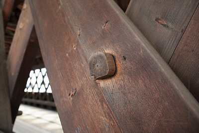 The Woodstock Middle Bridge is entirely wooden, even the bits that are keeping it together.