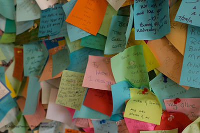 Remembrances on the wall of Dog Chapel at Dog Mountain in St. Johnsbury, VT.