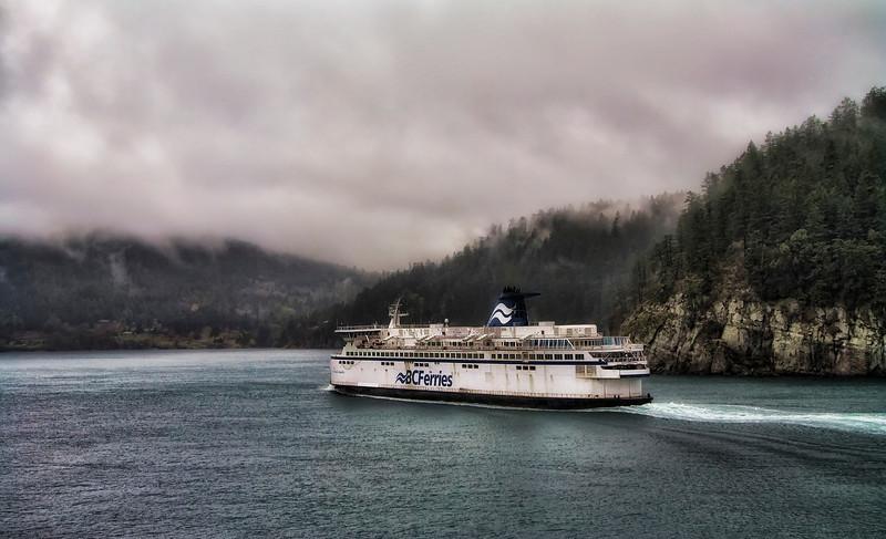 Sailing under Pacific mist