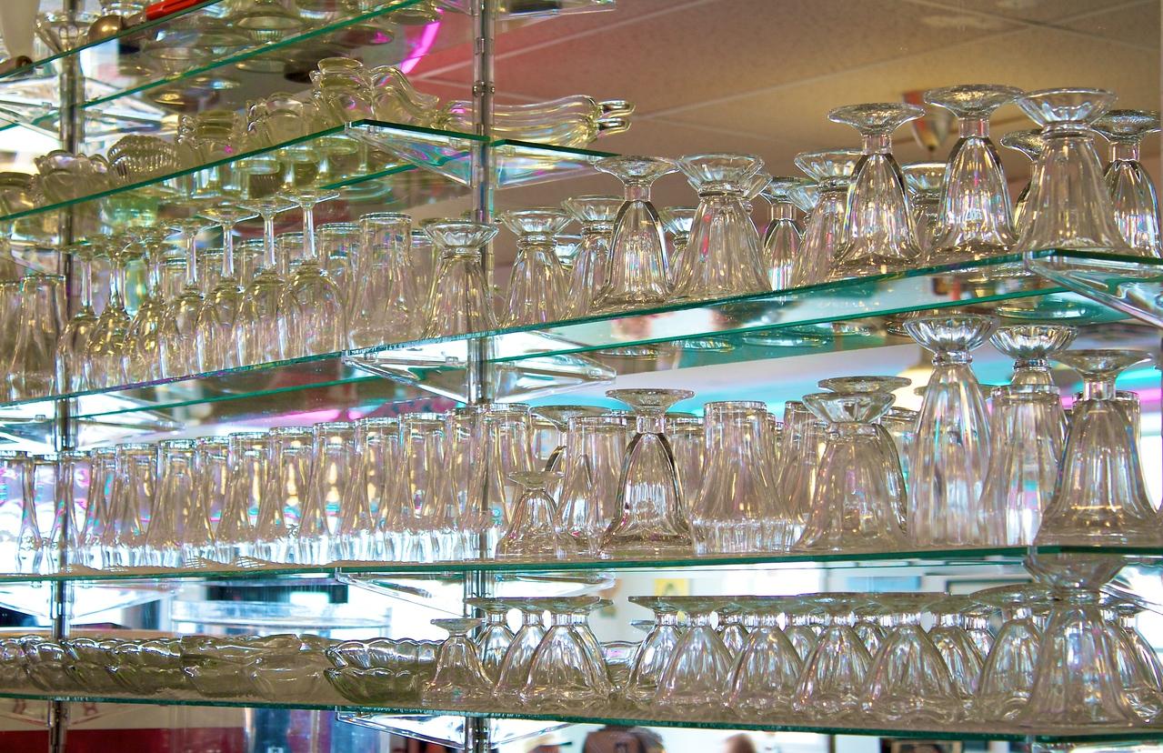 Glassware in Nifty Fiftys soda shoppe.