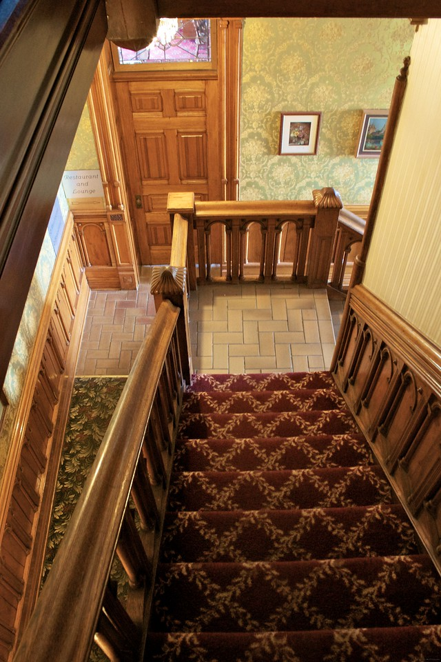 This is a view of the stairway leading to the haunted attic.