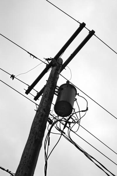 Interesting power pole in the downtown area. I thought the high contrast and shape make a near silhouette with nice texture.