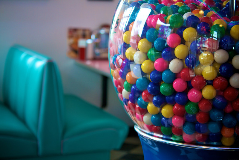"Gumball machine in ""Nifty Fiftys"" Soda Fountain."