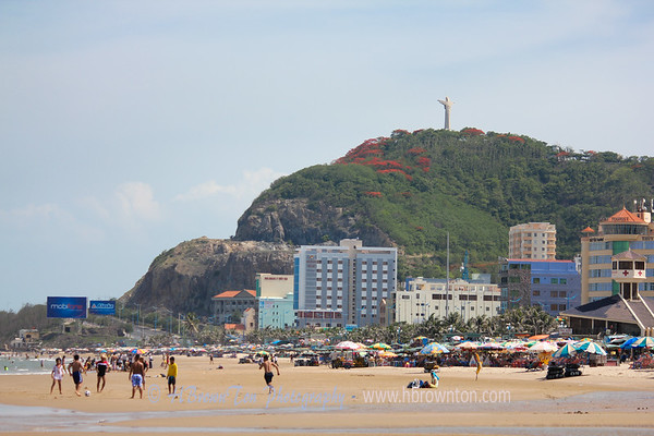 Christ of Vung Tau statue overlooking beach