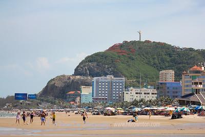 Christ of Vung Tau statue overlooking beach