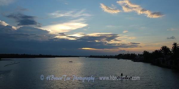 Dusk over Đê Võng River near Hoi An, Vietnam